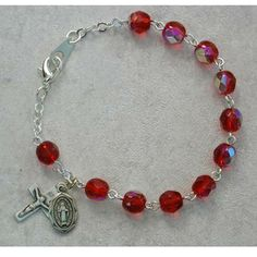 Sterling Silver YOUTH RUBY JULY BRACELET | Catholic Gifts | MaryShop.com