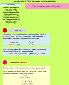 Arabic step by step grammar course. Lesson 2.