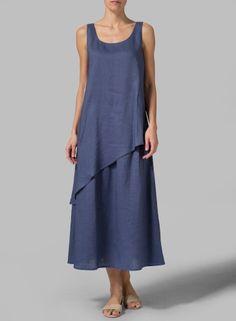 Linen Layered Long Dress vividlinen.com