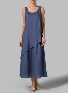 Linen Layered Long Dress vividlinen.com