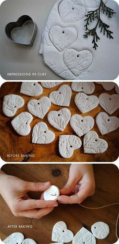 Pressed and cut clay ornaments