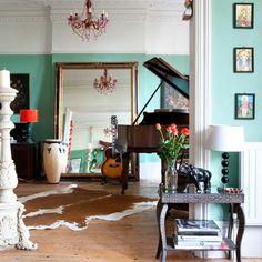 Arsenic from Farrow & Ball, via Little Green Notebook. Farrow Ball, Living Etc, Living Spaces, Living Rooms, Mint Green Walls, Jade Green, Aqua Walls, Aqua Rooms, White Walls