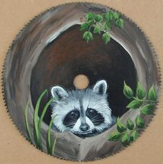 Hand Painted Saw Blade Raccoon Cabin Decor Americana Folk Art Original Painting by vicky Tole Painting, Painting On Wood, Winter Painting, Painted Rocks, Hand Painted, Arte Country, Country Paintings, Christmas Paintings, Animal Paintings