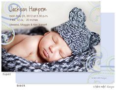 Take Note Designs Jackson Harper Boy Photo Birth Announcement
