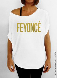 FEYONCE -  Off the Shoulder Slouchy Tee - White with Gold.  $29.  once the ring goes on, i need this.  like, for reals.