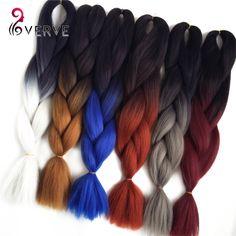 Ombre Sintetis Mengepang Rambut 24 inch 100 g/piece Two Tone ombre Jumbo Kepang mengepang Rambut Ekstensi rambut Serat Suhu Tinggi