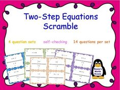 An easy way to engage students in demonstrating their learning or reviewing for tests using Algebraic Equation task cards. The package includes 4 Sets of 14 Two Step Equation Task Cards. 56 task cards in all! Students solve the problems, matching the answer
