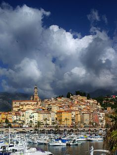 The old city of Menton, France, trapped between the mediteranean sea and the mountains.