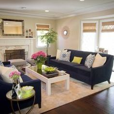 Navy Couch Design, Pictures, Remodel, Decor and Ideas-Living Room Inspiration Small Living Rooms, Home And Living, Family Living Rooms, Living Room Designs, Contemporary Living Room, Couch Design, Couches Living Room, Home Decor, Contemporary Living