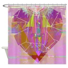 Abstract Heart Shower Curtain $45 #homedecor #bath