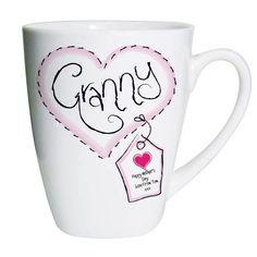Personalised Heart Stitch Granny Latte Mug Mothers Day Gifts Birthday Grandma & Garden Personalized Gifts For Grandparents, Personalized Mugs, Personalised Gifts, Grandma Birthday, Spoil Yourself, Latte Mugs, Happy Mothers Day, Gifts For Women, Birthday Gifts