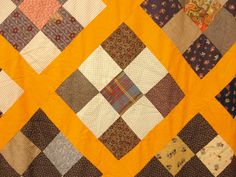 Antique Maine 19th Century Calico Hanging Nine Patch Patchwork Geometric Quilt Top detail