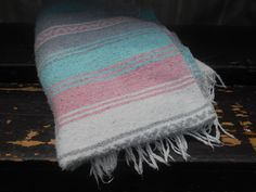Striped Blanket Throw Vintage Camp Blanket: Aqua, White, Gray, and Pink Striped on Etsy, $24.00