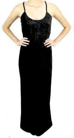 Black Crush Velvet Spaghetti Strap Long Maxi Dress