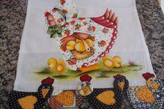 Pano de Copa pintado com barrado patch de galinhas
