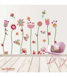 Vinilo infantil Flores contentas