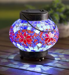 Solar Mosaic Lantern | Solar Lighting | Outdoor lighting, solar light, glass mosaic accent light, decorative solar light.