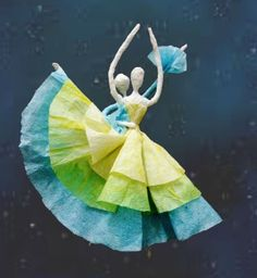 Picture of Paper Serviette Ballerina Tutorial found at http://www.instructables.com/id/Paper-Serviette-Ballerina/?ALLSTEPS