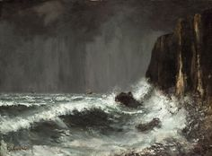 La falaise, Gustave Courbet. French Realist Painter (1819 - 1877)