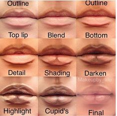 If you find the contouring technique easy and fun to be made you should try to reshape your own lips. Use a dark, a light foundation and a brush: Outline your upper lips and blend hte line.Outline the bottom too, as it is shown at the picture.Add some detailing contour lines with the darker foundation.The shades are highly important.Darken up what the last steps.Counturing is as important as highlitghting.Last details on the cupid's.Blend