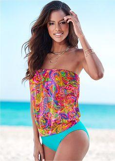 This oh-so-colorful tankini will look beautiful at the beach or pool! Venus blouson tankini top with Venus high waist moderate bottom. Island Outfit, Womens Tankini, Tankini Top, Swimsuits, Swimwear, Beachwear, Venus, High Waist, Island Clothing