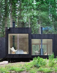 Contemporary Architecture | Picture Windows | Black Exterior | Paint Color | Modern Rustic | Wood Cabin | Vacation Home | Interior Design