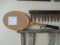 Vintage 27 wood tennis racquet upcycled to cork by InVentageForYou, $35.00