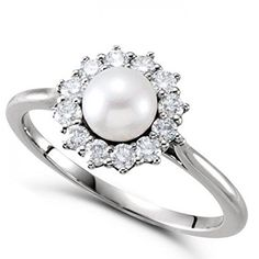 Freshwater Pearl and Diamond Halo Ring 14k White Gold 5.50-6mm 0.33ct