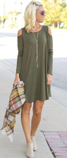 summer outfits  Olive Green Cold Shoulder Dress