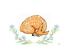 Illustration Reh Fine Art Print von Atelier Art-istique auf DaWanda.com