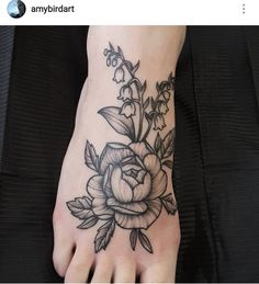 Dotwork peony and lily-of-the-valley foot tattoo by Amy Williams Tattoo @amybirdart