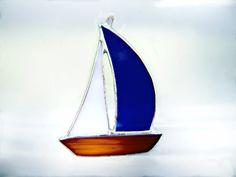 Sail Boat Ship Stained Glass Suncatcher Tree by GothicGlassStudio, $16.00