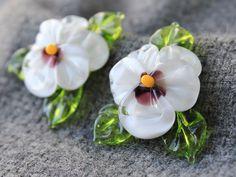 Handmade Lampwork Pansy Beads  Set of 2 by JewelryBeadsByKatie