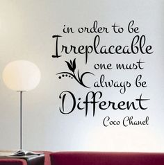 Vinyl Wall Lettering Irreplaceable one must be Different Quote Coco Chanel