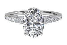 Oval Cut French-Set Diamond Band Engagement Ring in White Gold, by Ritani