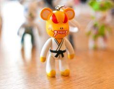Cute Anime Popobe Karate Bear Keychain Cute Key Chain Collectible Pop Vinyl Toy