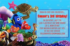 Finding Nemo Birthday Party InvitationThink we will do this for
