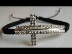 DIY Como hacer una Pulsera de cruz de strass. How to make bracelet cross stras. - YouTube