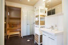Suvetar, Airiston esittelytalo Paraisilla. (4h+k+s, 101,5 m²) Bath Time, Home Interior, Bunk Beds, Loft, Saunas, Furniture, Decoration, Home Decor, Ideas