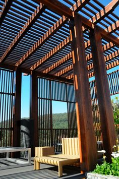 pergola . outdoors . chair . wood . facade