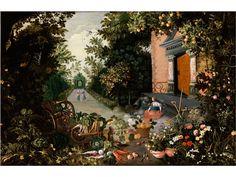 VERTUMNUS UND POMONA Öl auf Holz. 43 x 65 cm. Allegorie des Herbstes, mit üppiger Darstellung der Baum- und Bodenfrüchte, in einer...