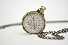 Compass necklace travel gift compass charm by AshleyCaitlinCrafts