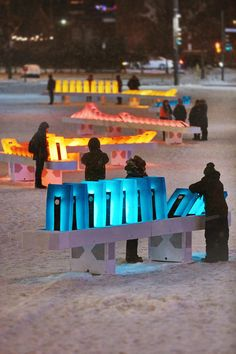 interaktive Kampagne The domino effect Interactive Installation Brightening Up Place des Festivals This Winter Architecture Interactive, Installation Interactive, Interactive Museum, Interactive Art, Light Installation, Landscape Architecture, Landscape Design, Art Installations, Interaction Design