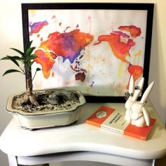 DIY Watercolour World Map this is a simple DIY to brighten up any room or study area.