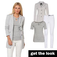Streifen-Shirt, Blazer-Mantel und  Jeans von zero! #zerofashion #getthelook #outfit #ootd