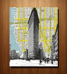 Flatiron Building & NYC Vintage Map Art Print