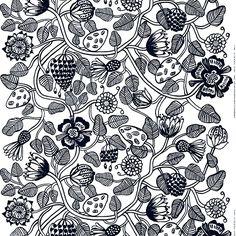 Marimekon mustavalkoiseen Tiara-kankaaseen on painettu Erja Hirven runsas kasviaiheinen kuosi, joka lumoaa eksoottisilla oksillaan, kukillaan ja hedelmillään. Kangas on valmistettu paksusta, sataprosenttisesta puuvillasta, ja sen raportin pituus on 98 cm.
