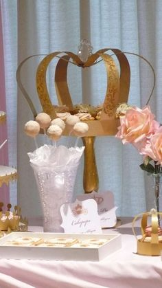 Pink and gold princess birthday party decorations! See more party planning ideas at CatchMyParty.com!