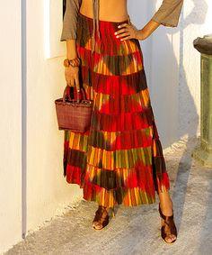 Look what I found on #zulily! Fuchsia & Yellow Patchwork Shirred Maxi Skirt - Women #zulilyfinds