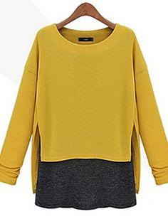 Mulheres Blusa Casual Simples Outono,Color Block Azul / Cinza / Amarelo Outros Decote Redondo Manga Longa Média